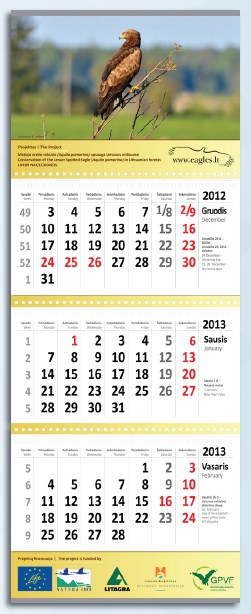 Triju daliu kalendorius su dviem reklaminiais intarpais - Kopija.lt