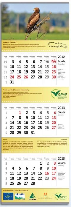 Triju daliu kalendorius su keturiais reklaminiais intarpais - Kopija.lt
